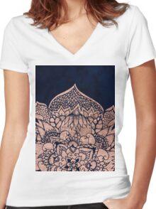 Modern boho rose gold floral mandala watercolor Women's Fitted V-Neck T-Shirt