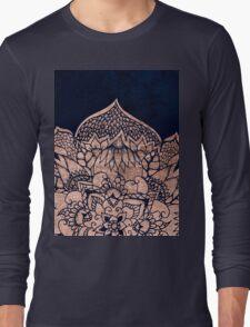 Modern boho rose gold floral mandala watercolor Long Sleeve T-Shirt