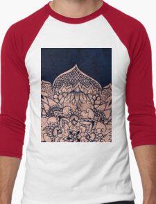 Modern boho rose gold floral mandala watercolor Men's Baseball ¾ T-Shirt