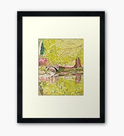 Bridge Over Lake. Exbury Gardens Framed Print