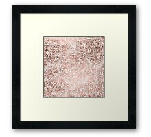 Modern faux rose gold floral mandala hand drawn Framed Print