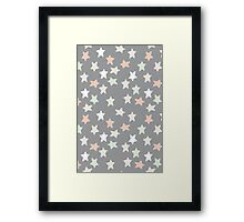 Pastel and grey stars Framed Print