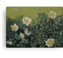 Vincent Van Gogh - Wild roses, Famous Painting. Impressionism. Van Gogh Canvas Print
