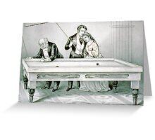 Billards - Froze together - 1874 - Currier & Ives Greeting Card