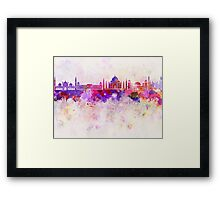 Agra skyline in watercolor background Framed Print