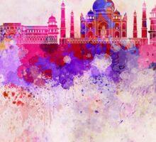 Agra skyline in watercolor background Sticker