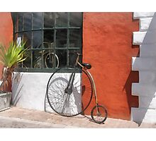 Penny-Farthing in Front of Bike Shop Photographic Print