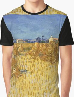 Vincent Van Gogh - Corn Harvest in Provence,  Famous Painting. Impressionism. Van Gogh Graphic T-Shirt