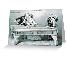 Billiards - A kiss - 1874 - Currier & Ives Greeting Card