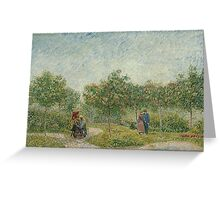 Vincent Van Gogh - Garden with courting couples square Saint-Pierre, Famous Painting. Impressionism. Van Gogh Greeting Card
