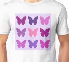 Butterly Silhouettes 3x3 Pinks Purples Mauves Unisex T-Shirt