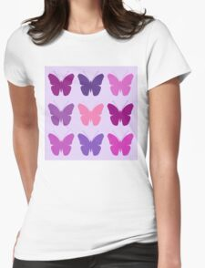 Butterly Silhouettes 3x3 Pinks Purples Mauves Womens Fitted T-Shirt