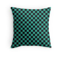 Minimalist check pattern. checkered square, Green and black. Checkered pattern.  Throw Pillow