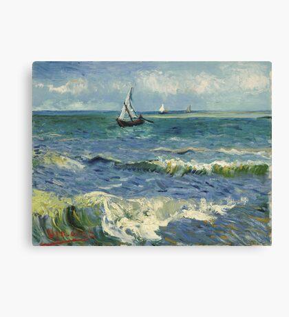 Vincent Van Gogh - Post- Impressionism Oil Painting , Seascape near Les Saintes-Maries-de-la-Mer, June 1888 - 1888 Canvas Print
