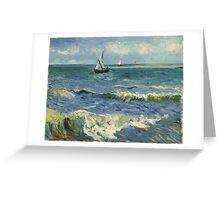Vincent Van Gogh - Post- Impressionism Oil Painting , Seascape near Les Saintes-Maries-de-la-Mer, June 1888 - 1888 Greeting Card