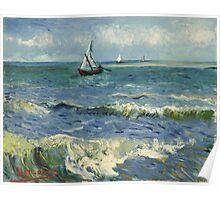 Vincent Van Gogh - Post- Impressionism Oil Painting , Seascape near Les Saintes-Maries-de-la-Mer, June 1888 - 1888 Poster