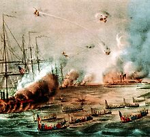 Bombardment and capture of the Forts at Hatteras Inlet, NC - 1861 - Currier & Ives by CrankyOldDude