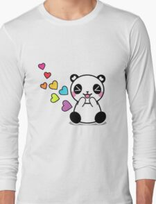 Colourful Panda with Hearts T-Shirt