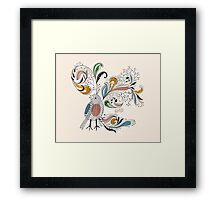 Flowers & Bird 2  Framed Print