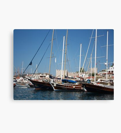 Traditional Turkish Gulets In Marmaris Harbour Canvas Print