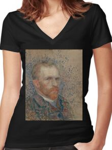 Vincent Van Gogh -  Post- Impressionism Oil Painting , Self-portrait, March 1887 - June 1887 Women's Fitted V-Neck T-Shirt