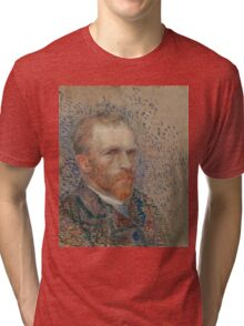 Vincent Van Gogh -  Post- Impressionism Oil Painting , Self-portrait, March 1887 - June 1887 Tri-blend T-Shirt