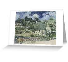 Vincent Van Gogh  Post- Impressionism Oil Painting , Thatched Cottages at Cordeville, 1890 Greeting Card
