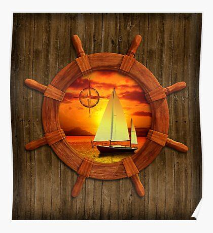 Sailboat Sunset Poster