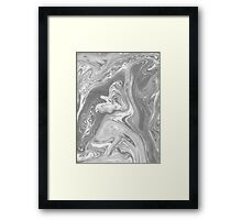 Eiji - black and white monochromatic grey minimal painting marble marbled paper art print topography map  Framed Print