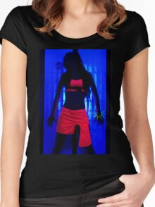 The effects of UV (black light) on reflective clothing - Orange Women's Fitted Scoop T-Shirt