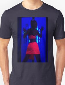 The effects of UV (black light) on reflective clothing - Orange Unisex T-Shirt
