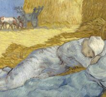 Vincent Van Gogh  Post - Impressionism Oil Painting .The siesta, after Millet, 1890 Sticker