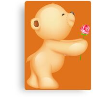 Cute Valentine Teddy with Rose Canvas Print