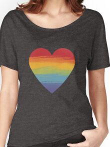Rainbow Watercolour Heart Women's Relaxed Fit T-Shirt