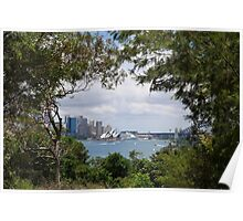 Sydney framed by foliage Poster