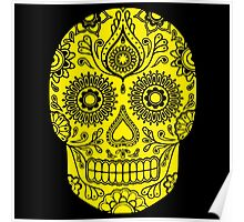 Mexican Death Skull, Yellow, day of the dead Poster
