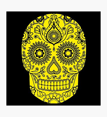 Mexican Death Skull, Yellow, day of the dead Photographic Print