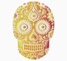 Mexican Death Skull, Yellow/Orange/Red, day of the dead One Piece - Long Sleeve