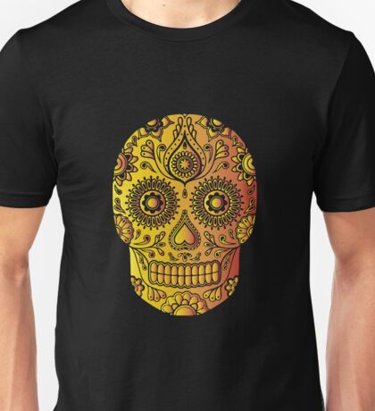 Mexican Death Skull, Yellow/Orange/Red, day of the dead Unisex T-Shirt