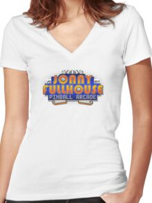 The World Famous Jonny Fullhouse Pinball Arcade Women's Fitted V-Neck T-Shirt