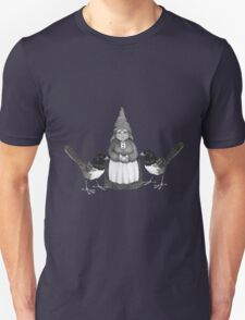 Gnome Woman with Birds, Original Pencil Art T-Shirt
