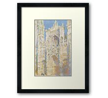 Claude Monet - Rouen Cathedral.  West Facade.  Sunlight  , Impressionism Framed Print