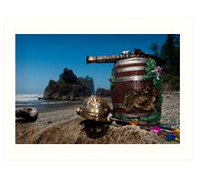 Pirate treasure and weapons at Ruby Beach  Art Print