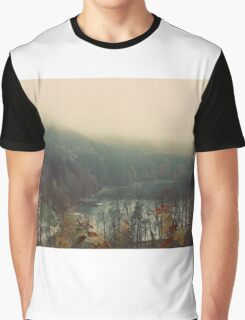 Mystical Fog Mountain Forest Lake Germany Graphic T-Shirt