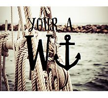Funny WAnchor Joke on Nautical Background: Pillows and More Photographic Print