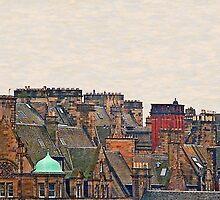Scotland - Edinburgh, roofs and chimneys by leobrix