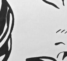 black and white girl  Sticker