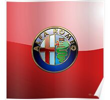 Alfa Romeo - 3D Badge on Red Poster