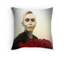 Halloween Skull Tux And Roses Throw Pillow