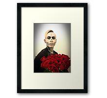 Skull Tux And Roses Framed Print
